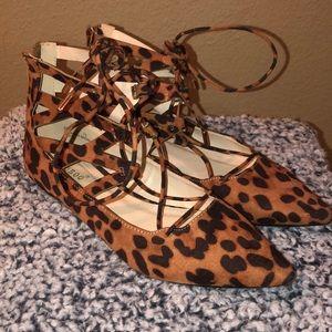 Leopard Print lace up flats